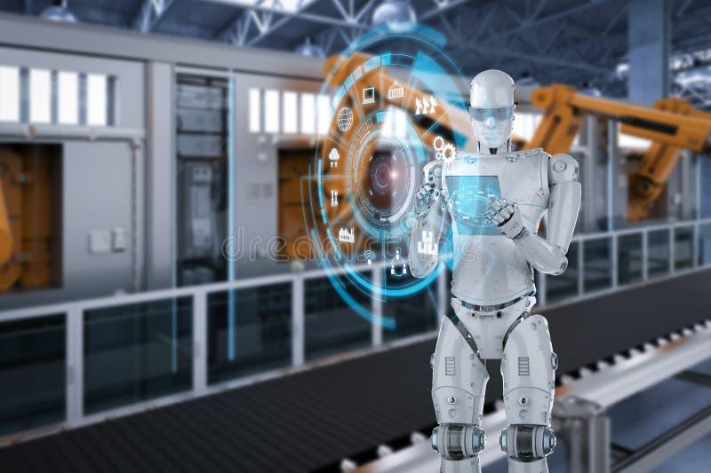 Robot con la tableta de cristal fotografía de archivo