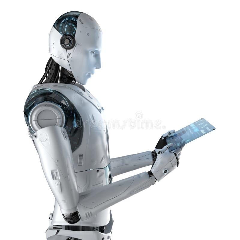 Robot con la tableta de cristal ilustración del vector