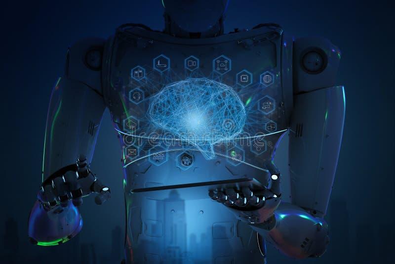 Robot con la tablilla imagen de archivo libre de regalías