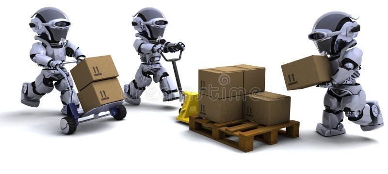 Robot con le caselle di trasporto illustrazione vettoriale