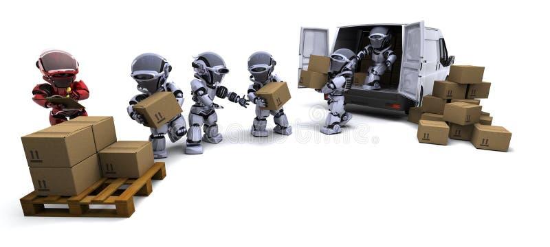 Robot con le caselle di trasporto che caricano un furgone illustrazione vettoriale