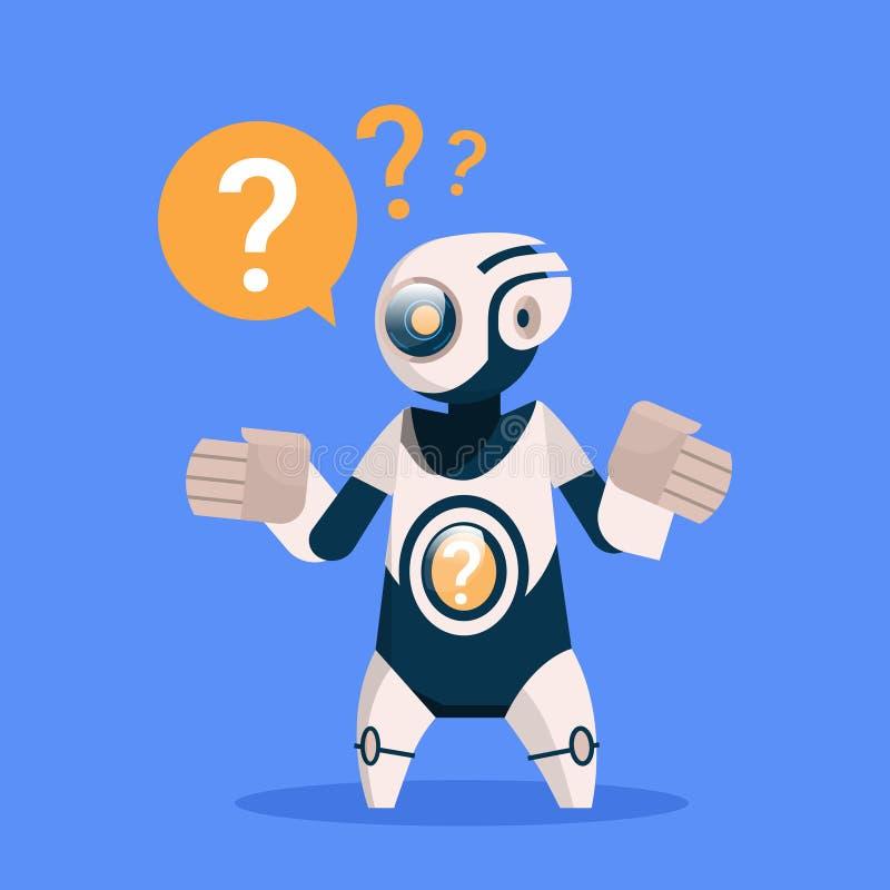 Robot con tecnología de inteligencia artificial moderna del concepto del fondo de Mark Cyborg Isolated On Blue de la pregunta ilustración del vector