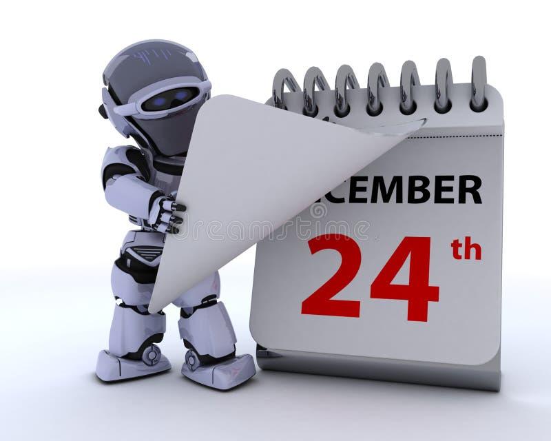 Robot con un calendario stock de ilustración