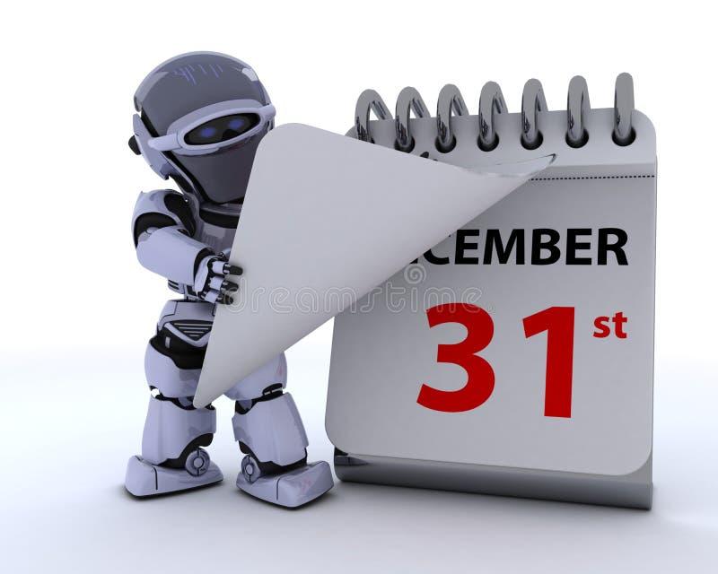 Robot con un calendario ilustración del vector