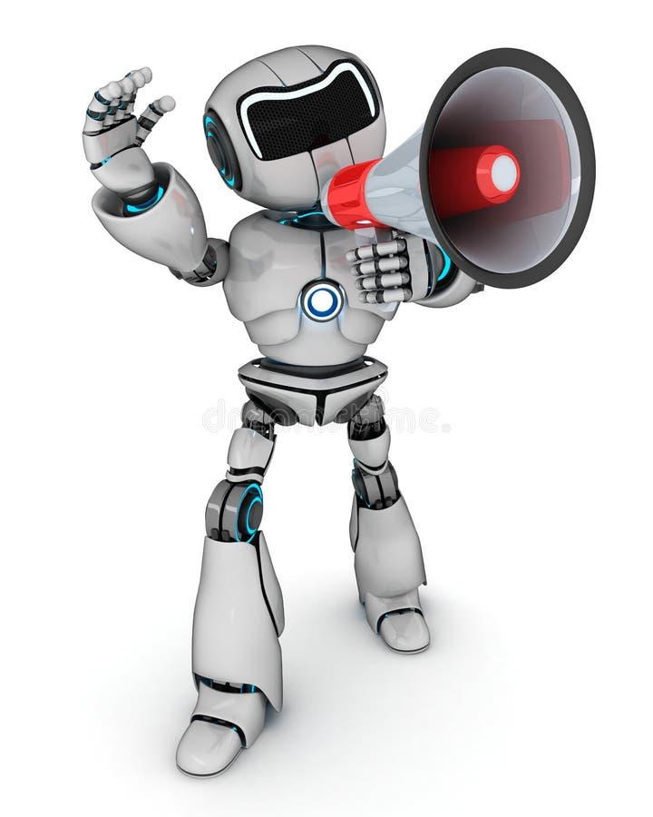 Robot con un megáfono ilustración del vector