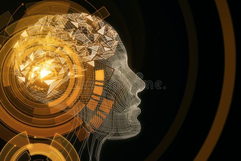 Robot concept. Abstract orange digital human profile on dark background. Robot concept. 3D Rendering stock illustration