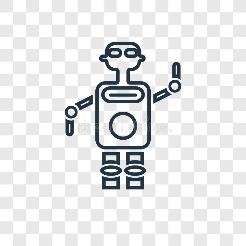 Robot concept vector linear icon isolated on transparent background, Robot concept transparency logo in outline style. Robot concept vector linear icon isolated vector illustration