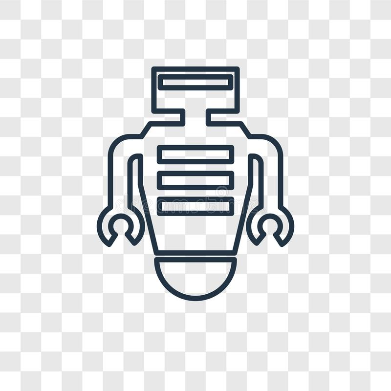 Robot concept vector linear icon isolated on transparent background, Robot concept transparency logo in outline style. Robot concept vector linear icon isolated stock illustration