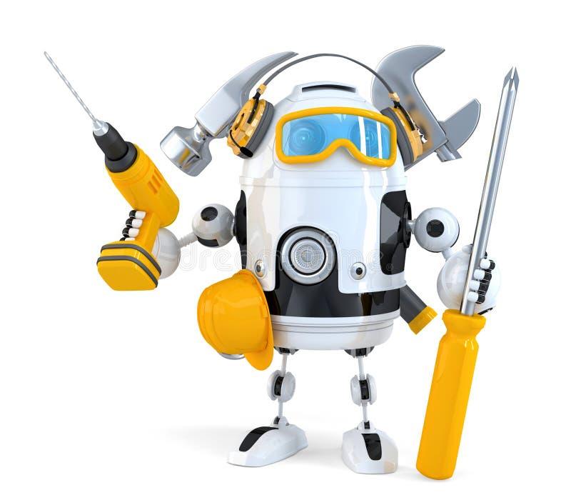 Robot - concepto del trabajador industrial Contiene la trayectoria de recortes ilustración del vector