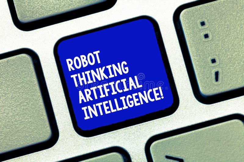 Robot conceptual de la demostración de la escritura de la mano que piensa la inteligencia artificial Foto del negocio que muestra fotografía de archivo