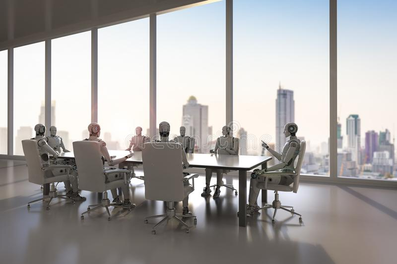 Robot in conference room stock illustration