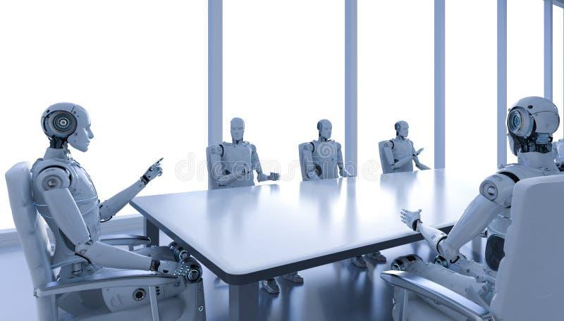 Robot in conferentieruimte stock illustratie