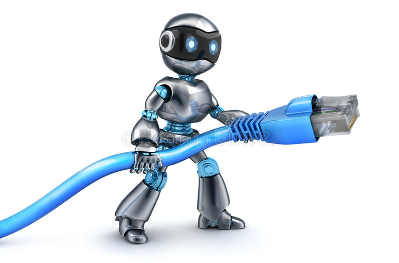Robot and connect computer cable. 3d illustration royalty free illustration