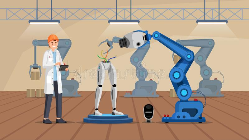 Robot construction plant flat vector illustration. Smiling scientist in white coat building droid character. Cyborg stock illustration