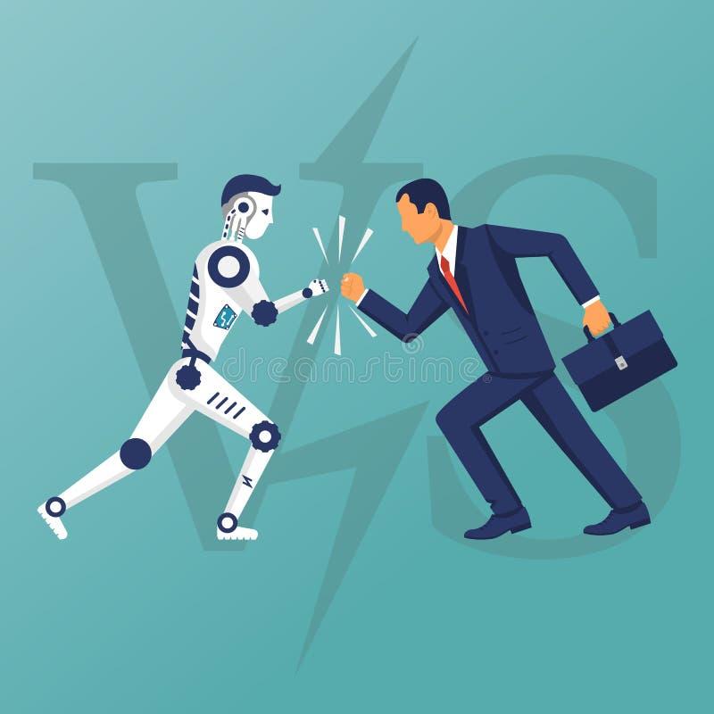 Robot contro l'essere umano Contro il concetto illustrazione vettoriale