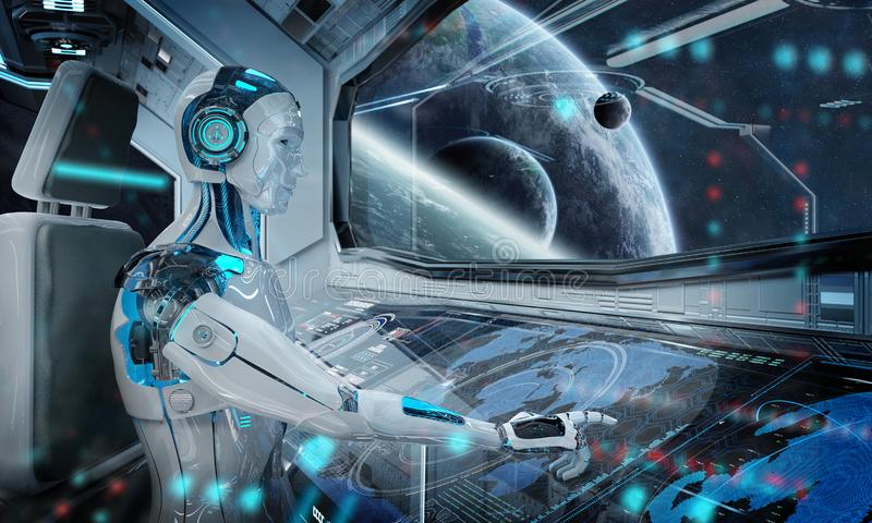 Robot in a control room flying a white modern spaceship with window view on space 3D rendering. Robot cyborg in a control room flying a white modern spaceship royalty free illustration