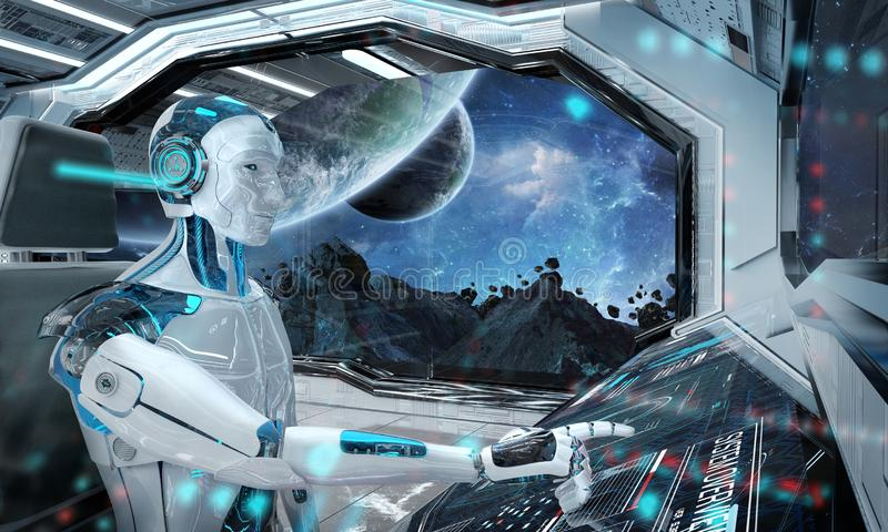 Robot in a control room flying a white modern spaceship with window view on space 3D rendering. Robot cyborg in a control room flying a white modern spaceship stock illustration