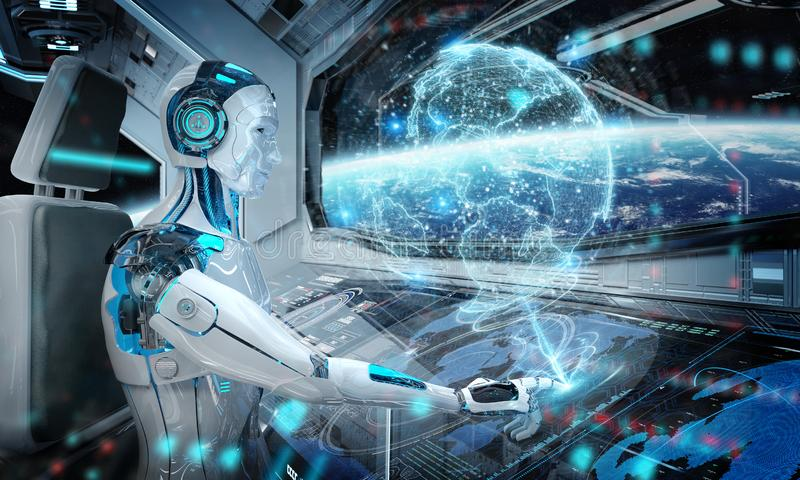 Robot in a control room flying a white modern spaceship with window view on space and digital Earth hologram 3D rendering vector illustration