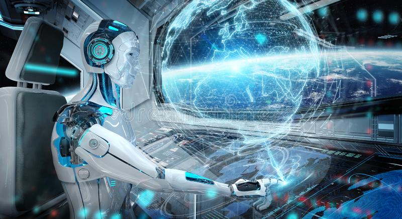 Robot in a control room flying a white modern spaceship with window view on space and digital Earth hologram 3D rendering stock illustration
