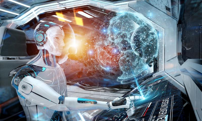 Robot in a control room flying a white modern spaceship with window view on space and digital Earth hologram 3D rendering. Robot cyborg in a control room flying stock illustration