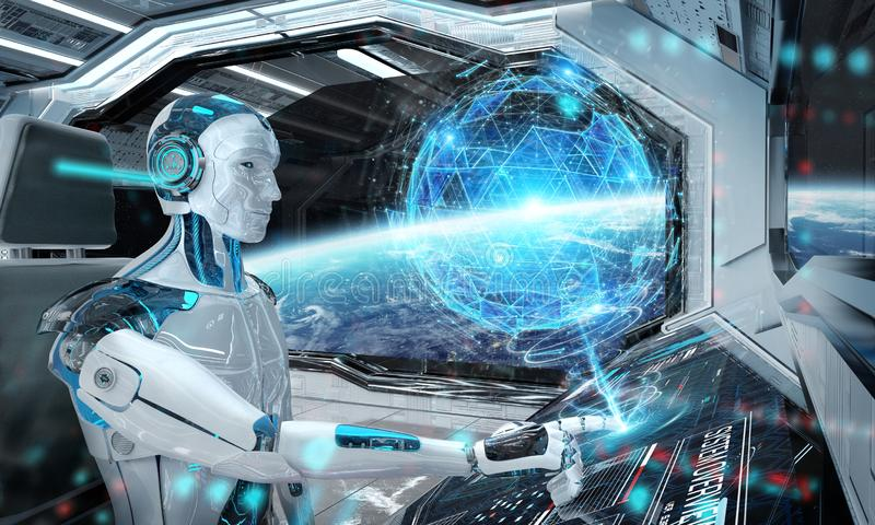 Robot in a control room flying a white modern spaceship with window view on space and digital globe hologram 3D rendering royalty free illustration