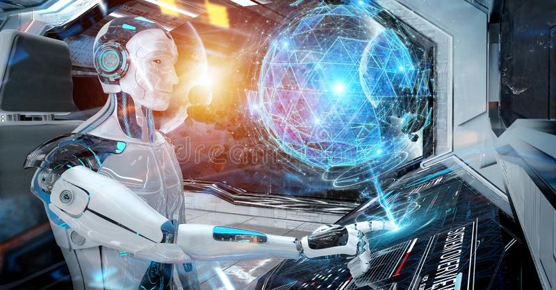 Robot in a control room flying a white modern spaceship with window view on space and digital globe hologram 3D rendering. Robot cyborg in a control room flying vector illustration