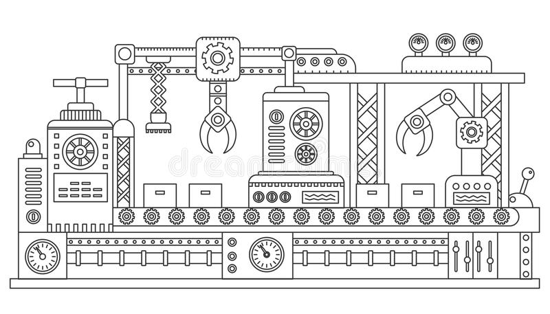 Robot controllati da computer che imballano le scatole di cartone della catena di montaggio industriale Macchinario dell'impianto illustrazione vettoriale