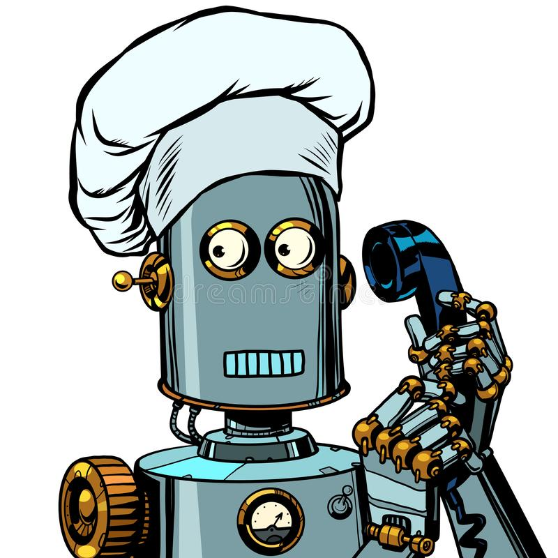 The robot cook takes the order menu, food delivery royalty free illustration