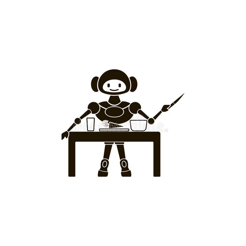 Robot is cooking icon. Element of home robot icon for mobile concept and web apps. Detailed robot is cooking icon can be used for. Web and mobile on white royalty free illustration
