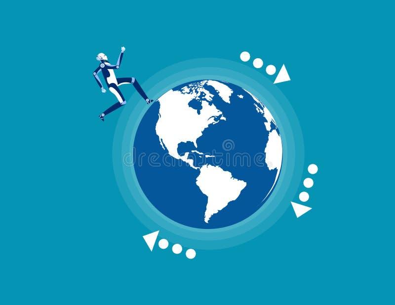 Robot corriendo en el planeta Concepto de vector de negocio, comercio mundial ilustración del vector