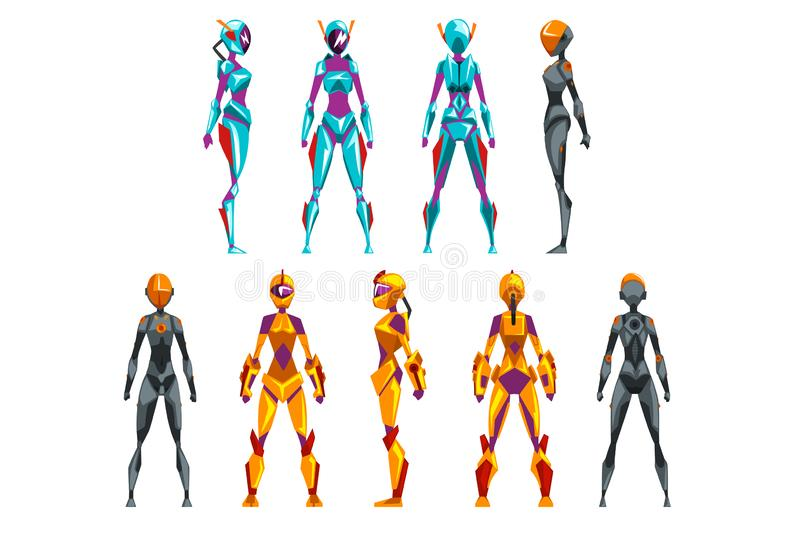 Robot costumes set, superhero woman vector Illustrations. On a white background stock illustration