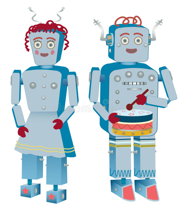 Robot Couple. Two robots, a male and a female, ready for work. The male is drumming vector illustration
