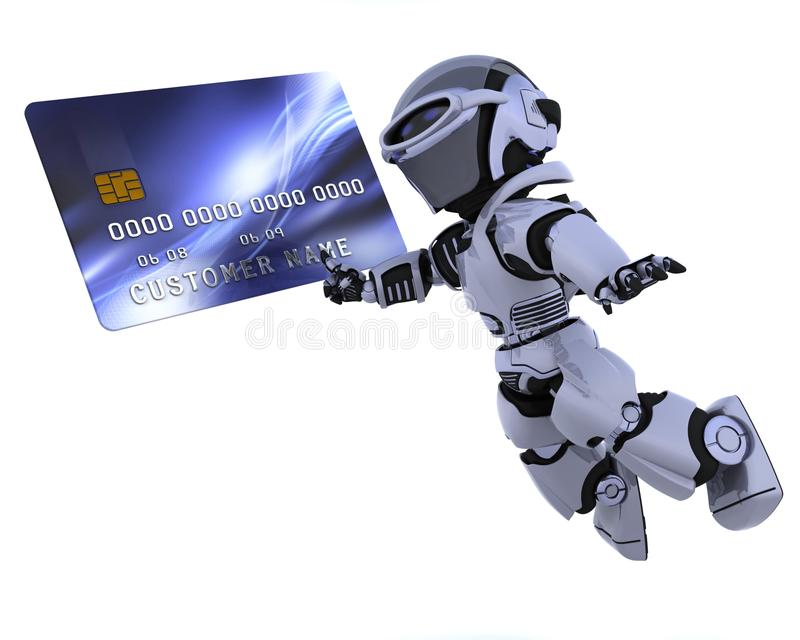 Robot and credit card vector illustration