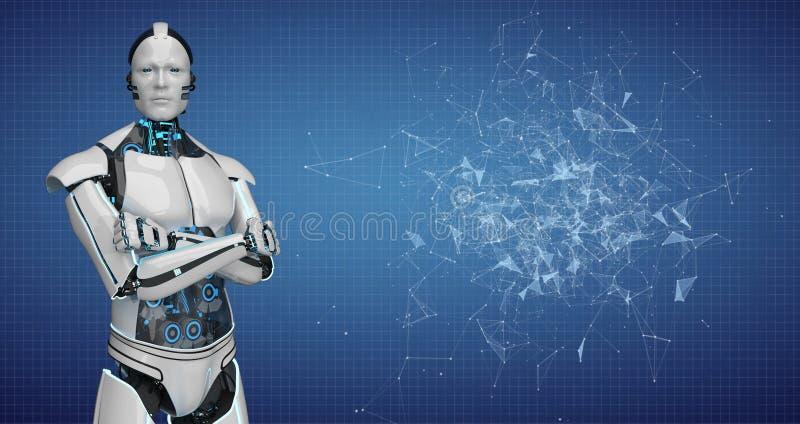 Robot Crossed Hands Blue Background vector illustration