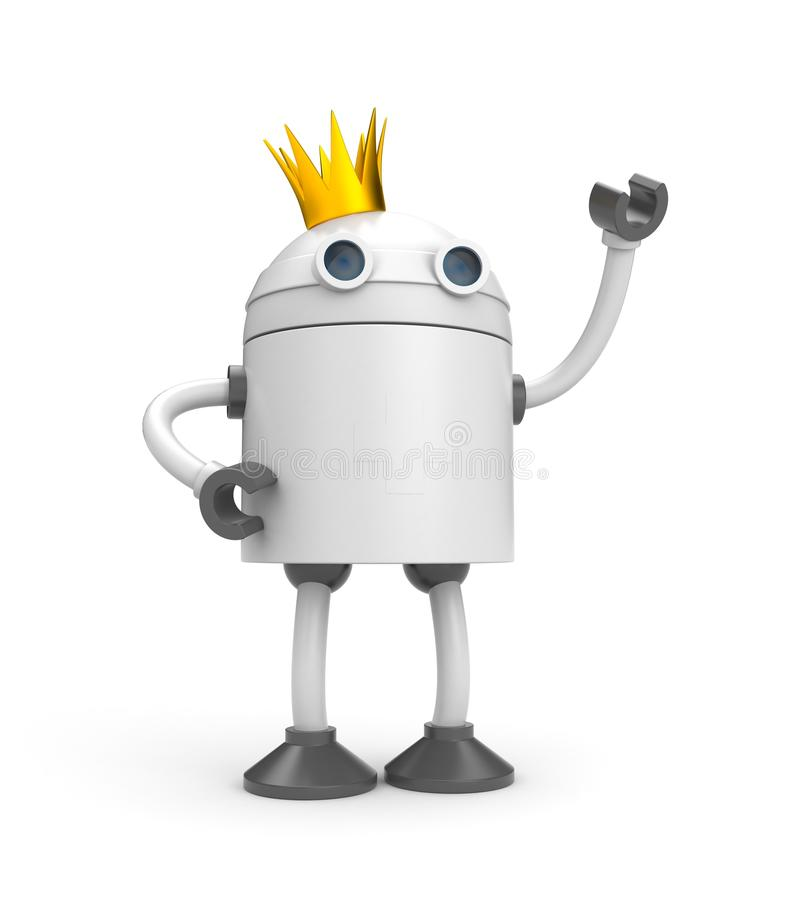 Robot with crown - king stock illustration