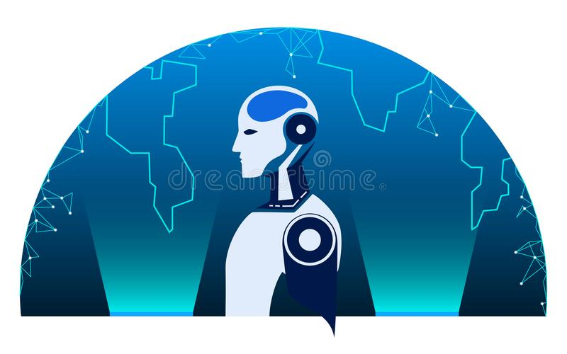 Robot cybernetic and earth globe. AI artificial intelligence future technology concept stock illustration