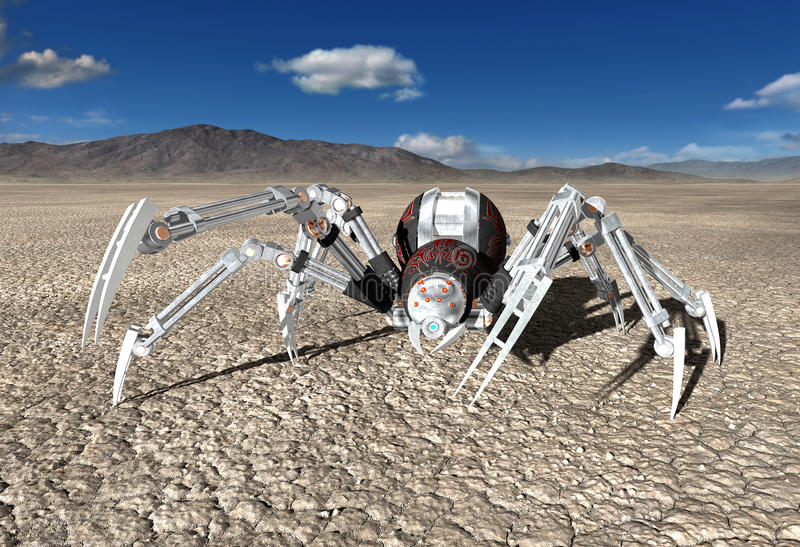Robot Cyborg Android Spider Illustration. Illustration of a mechanical robot cyborg android spider in a desolate desert. The machine is a predator bug or insect stock illustration