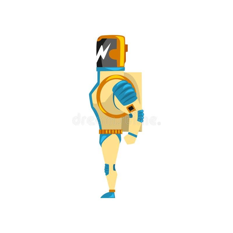 Robot, cyborg, bohatera kostium, bocznego widoku wektorowa ilustracja na białym tle royalty ilustracja
