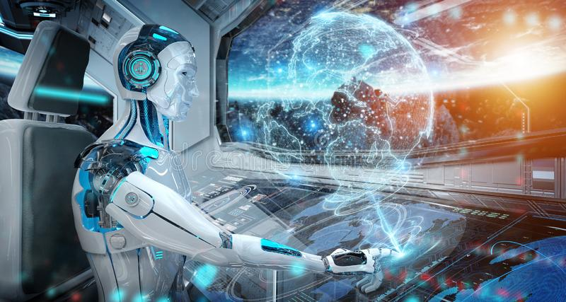 Robot in a control room flying a white modern spaceship with window view on space and digital Earth hologram 3D rendering. Robot cyborg in a control room flying vector illustration