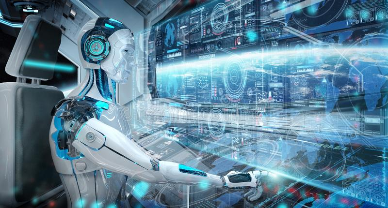 Robot cyborg in a control room flying a white modern spaceship with window view on space and digital graph 3D rendering. Robot cyborg in a control room flying a stock illustration
