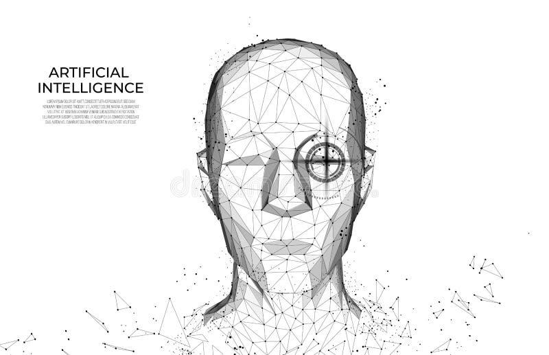 Robot of cyborg mens met AI- kunstmatige intelligentie Gezichtserkenning biometrisch aftasten, 3D aftasten Gezichtsidentiteitskaa stock illustratie