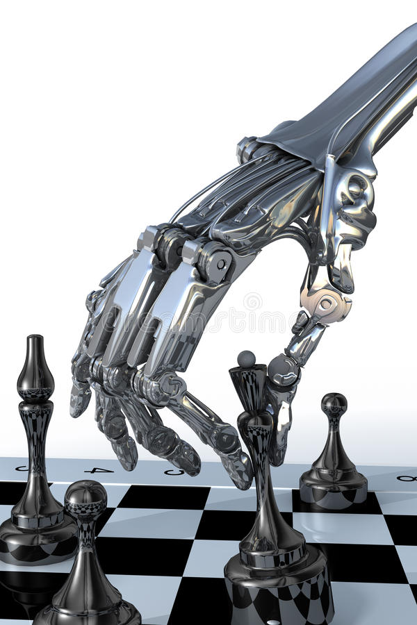 Robot or cyborg plays a chess. High technology illustration stock illustration