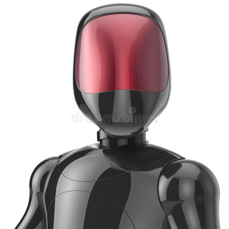 Robot cyborg zwarte high-tech bot androïde karakteravatar vector illustratie