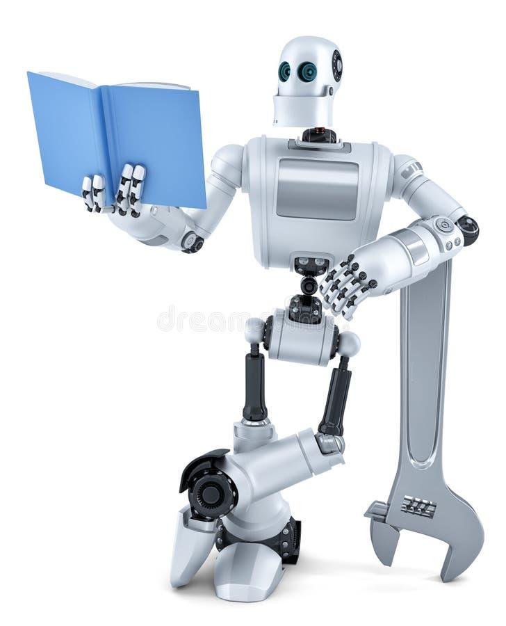 Robot czytelnicza książka Zawiera ścinek ścieżkę ilustracja wektor