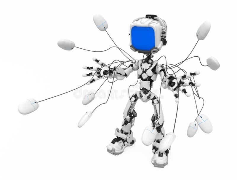Robot d'écran bleu, contrôle de souris illustration stock