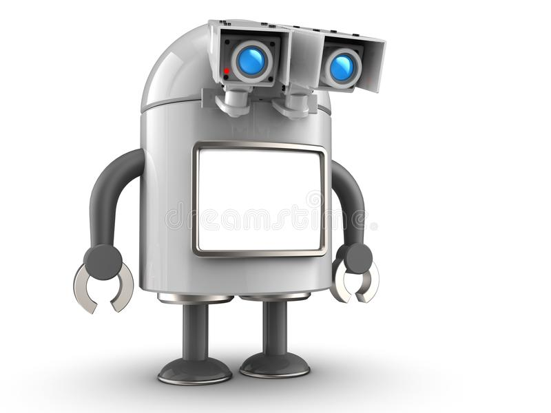 robot 3d över vit royaltyfri illustrationer