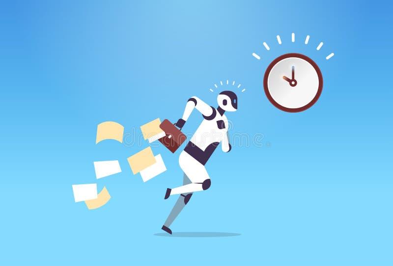 Robot d'affaires fonctionnant avec les papiers en baisse de la technologie d'intelligence artificielle de date-butoir de gestion  illustration stock