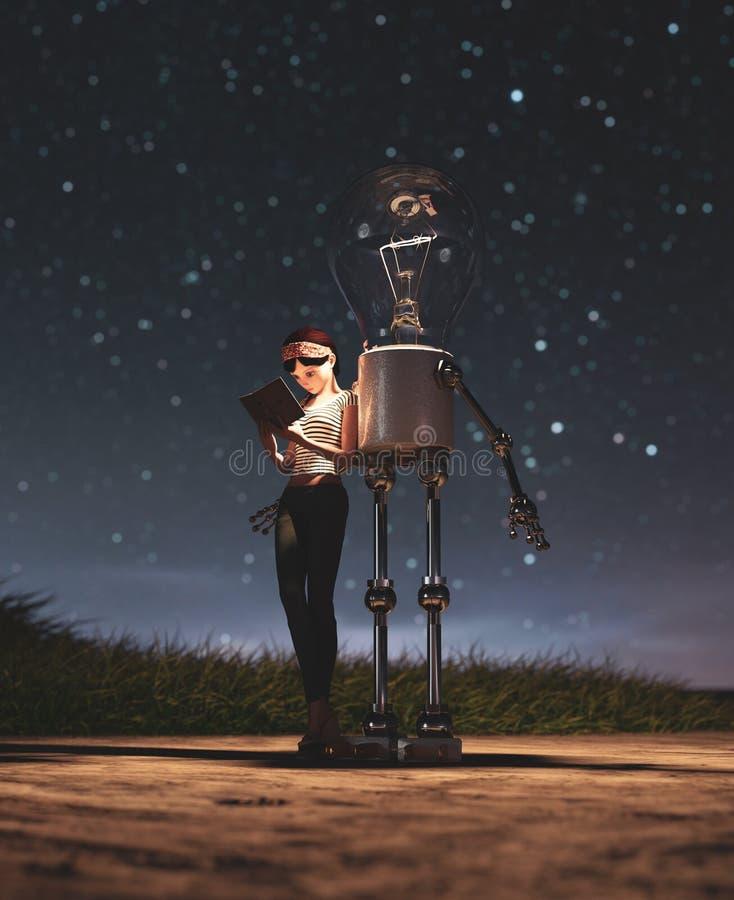 Robot d'ampoule donnant une lumière à la fille qui lisant un livre dans la nuit étoilée illustration de vecteur
