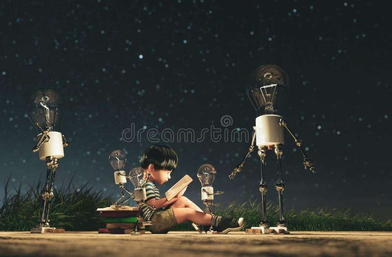 Robot d'ampoule donnant une lumière au garçon qui lisant un livre dans la nuit étoilée illustration de vecteur