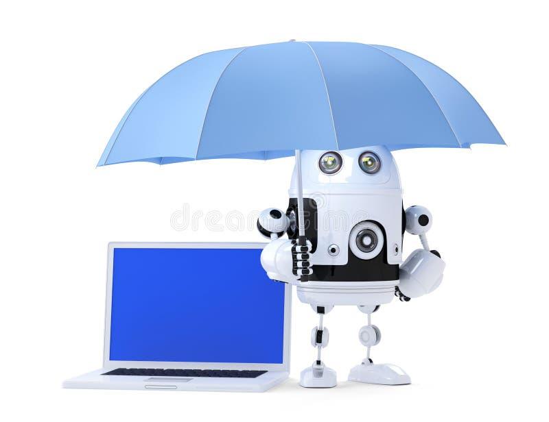 Robot d'Android avec l'ordinateur portable et le parapluie Concept de garantie D'isolement Contient le chemin de coupure de l'écr illustration de vecteur